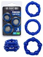 Anillo para el Pene Push Monster - Set Triple Azul