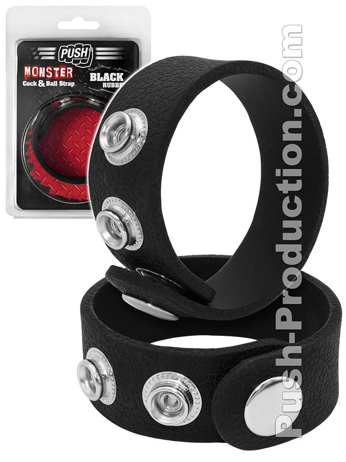 Push Monster - Black Rubber Cock & Ball Strap